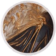 Brown And Gold Round Beach Towel