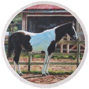 Brown And White Horse By Stable Round Beach Towel