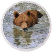 Brown Bear Round Beach Towel