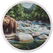 Brown Bear And Salmon On The River - Alaskan Wildlife Landscape Round Beach Towel