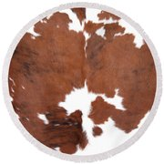 Brown Cowhide Round Beach Towel