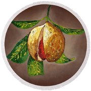Round Beach Towel featuring the painting Brown Glow Nutmeg by Laura Forde