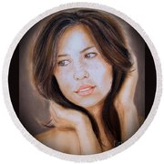 Round Beach Towel featuring the drawing Brown Haired And Lightly Freckled Beauty Fade To Black Version by Jim Fitzpatrick