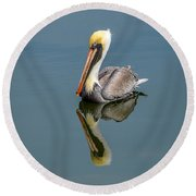 Brown Pelican Reflection Round Beach Towel
