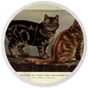Brown Tabby And Orange Tabby Cats Round Beach Towel