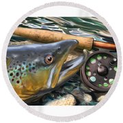 Brown Trout Sunset Round Beach Towel