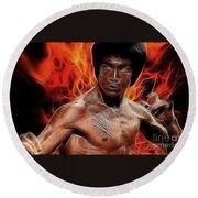 Bruce Lee Round Beach Towel by Doc Braham