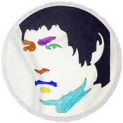 Round Beach Towel featuring the  Bruce Lee by Stormm Bradshaw