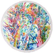Bruce Springsteen And Clarence Clemons Watercolor Portrait Round Beach Towel