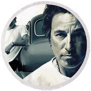 Bruce Springsteen The Boss Artwork 1 Round Beach Towel