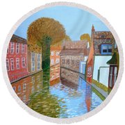 Round Beach Towel featuring the painting Brugge Canal by Magdalena Frohnsdorff