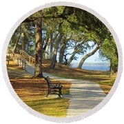 Round Beach Towel featuring the photograph Brunswick Town by Cynthia Guinn