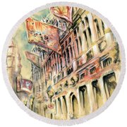 Brussels Grand Place - Watercolor Round Beach Towel