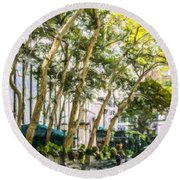 Bryant Park Midtown New York Usa Round Beach Towel by Liz Leyden