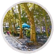 Bryant Park October Round Beach Towel by Liz Leyden