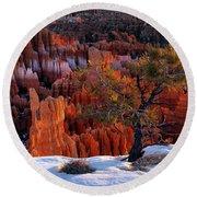 Bryce Canyon Winter Light Round Beach Towel