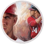 Round Beach Towel featuring the painting Bryce Harper Artwork by Sheraz A