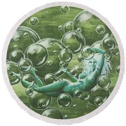 Bubbles Round Beach Towel by Jack Malloch