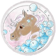 Bubbles Profile Round Beach Towel