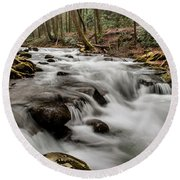 Bubbling Mountain Stream Round Beach Towel by Debbie Green