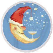 Bubbly Christmas Moon Round Beach Towel