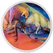 Round Beach Towel featuring the painting Buck Off by Rob Corsetti