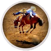 Bucking Broncos Rodeo Time Round Beach Towel by Susan Garren
