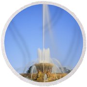 Buckingham Fountain Round Beach Towel by Adam Romanowicz
