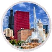 Chicago Buckingham Fountain Sears Tower Round Beach Towel
