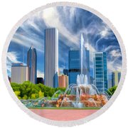 Buckingham Fountain Skyscrapers Round Beach Towel by Christopher Arndt