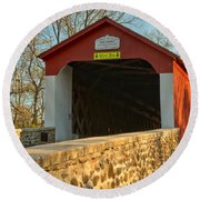 Bucks County Van Sant Covered Bridge Round Beach Towel