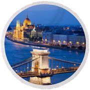 Budapest Cityscape At Night Round Beach Towel