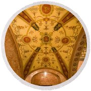 Budapest Opera House Foyer Ceiling Round Beach Towel