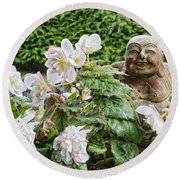 Budda And Begonias Round Beach Towel
