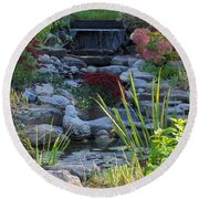 Round Beach Towel featuring the photograph Buddha Water Pond by Brenda Brown