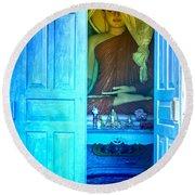 Buddha Behind A Blue Door Round Beach Towel