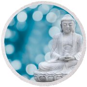Buddha Enlightenment Blue Round Beach Towel