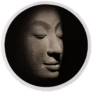 Buddha Head From The Early Ayutthaya Period Round Beach Towel