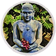 Round Beach Towel featuring the painting Buddha In Garden by Joan Reese