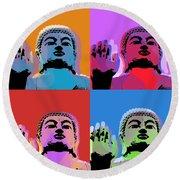 Round Beach Towel featuring the digital art Buddha Pop Art - 4 Panels by Jean luc Comperat