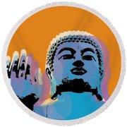 Buddha Pop Art - Warhol Style Round Beach Towel