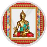 Buddha Sparkle Bronze Painted N Jewel Border Deco Navinjoshi  Rights Managed Images Graphic Design I Round Beach Towel by Navin Joshi