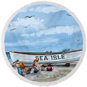 Buddies In Sea Isle City 2 Round Beach Towel