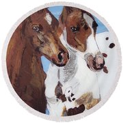 Round Beach Towel featuring the painting Buddies by Lucia Grilletto