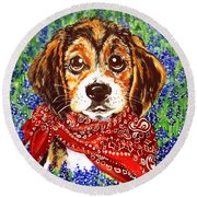 Buddy Dog Beagle Puppy Western Wildflowers Basset Hound  Round Beach Towel