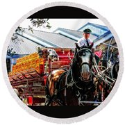 Round Beach Towel featuring the photograph Budweiser Beer Wagon by Mike Martin