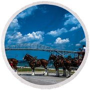 Budweiser Clydsdales And Blue Water Bridges Round Beach Towel