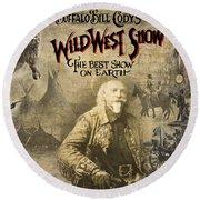 Buffalo Bill Wild West Show Round Beach Towel