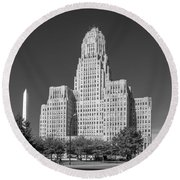 Buffalo City Hall 0519b Round Beach Towel
