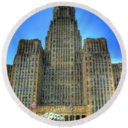 Buffalo City Hall Round Beach Towel